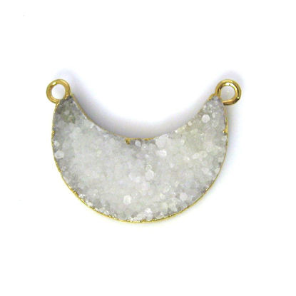 Wholesale Natural Druzy Agate Crescent Bar Pendant, White Druzy Bar Connector, Half Moon Long Bar