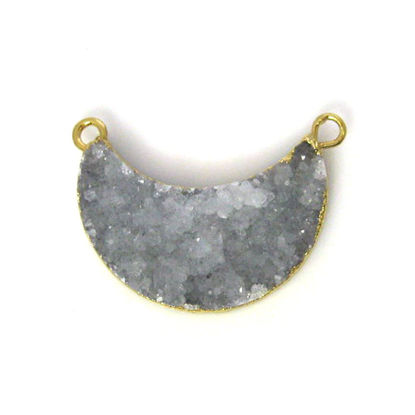 Wholesale Natural Druzy Agate Crescent Bar Pendant, Light Grey Druzy Bar Connector, Half Moon Long Bar
