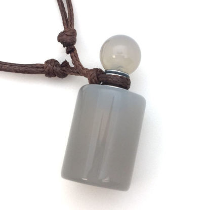 Wholesale Grey Agate Essential Oil Bottle with Silk Cord Necklace - Cylinder Shap