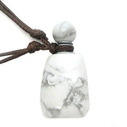 Wholesale Howlite Essential Oil Bottle with Silk Cord Necklace - Irregular Shape
