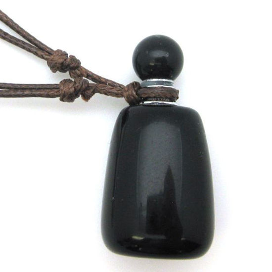 Wholesale Black Obsidian Essential Oil Bottle with Silk Cord Necklace - Irregular Shape