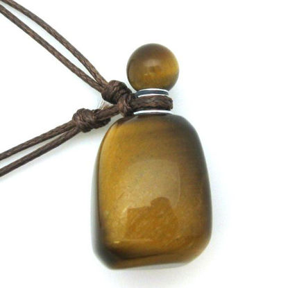 Wholesale Tiger's Eye Essential Oil Bottle with Silk Cord Necklace - Irregular Shape