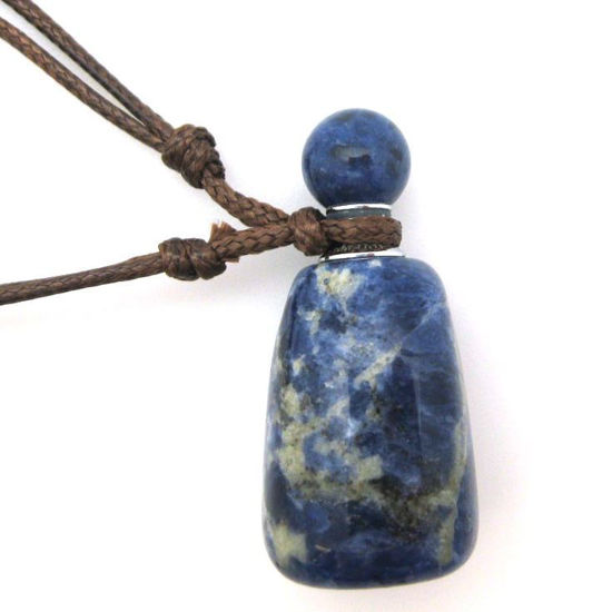 Wholesale Sodalite Essential oil bottle with Silk Cord Necklace- Irregular Shape
