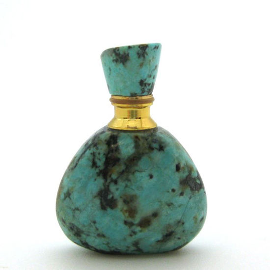 Wholesale African Turquoise Gold Plated Luxury essential oil bottle - Triangle Shape