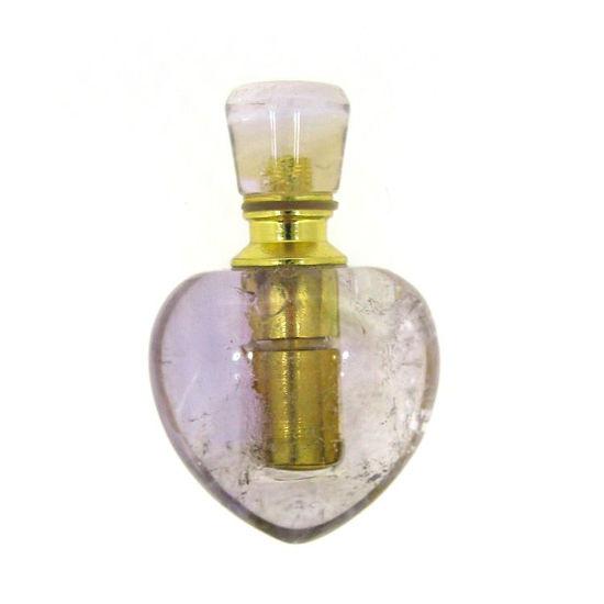 Wholesale Amethyst Gold Plated Luxury essential oil bottle- Heart Shape
