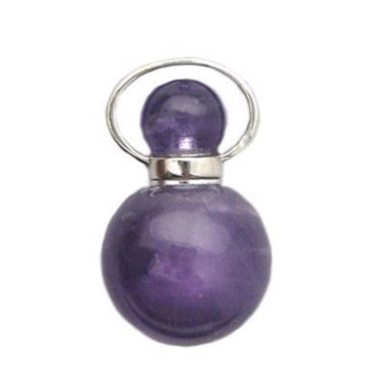 Wholesale Amethyst essential oil bottle, Mini 2- Beaded Shape - February Birthstone