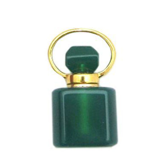 Wholesale Green Agate Gold Plated Essential oil bottle, Mini 2- Square Shape