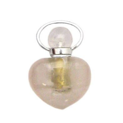 Wholesale Rose Quartz essential oil bottle, Mini 2- Heart Shape