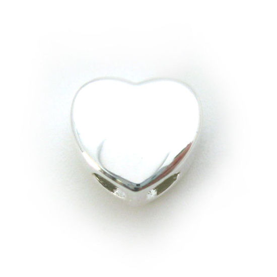 Wholesale Sterling Silver Heart Shaped Sliding Beads with Silicone-Double Hole Stopper Beads (1 piece)