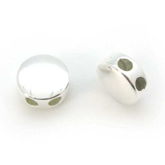 Wholesale Sterling Silver Circle Shaped Sliding Beads with Silicone-Double Hole Stopper Beads (1 piece)