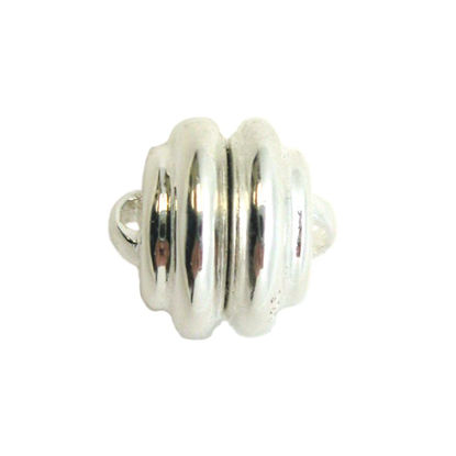 Wholesale Sterling Silver Round Ribbed Magnetic Clasp (1 clasp)