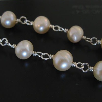 Wholesale Wire Wrapped Freshwater Pearls - Pink Pearl Rosary Chains- 7- 8 mm - Pink color - Jewelry Making Chains- Sold per Foot