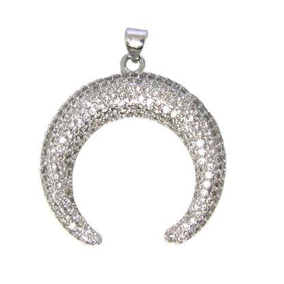 Wholesale Sterling Silver Pave Double Horn Pendant - Zircon Pave Pendant