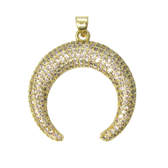 Wholesale Gold Plated Sterling Silver Pave Double Horn Pendant - Zircon Pave Pendant