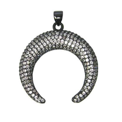 Wholesale Black Sterling Silver Pave Double Horn Pendant - Zircon Pave Pendant
