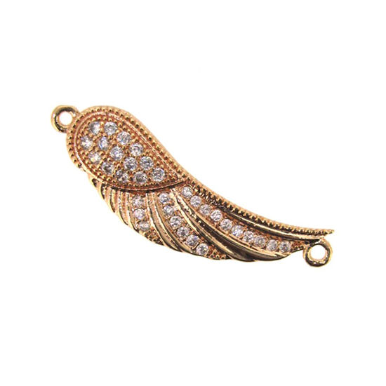 Wholesale Rose Gold Plated Pave Wing Connector Pendant - Small Zircon Pave Wing