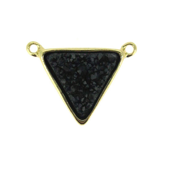 Wholesale Gold Plated Black Agate Titanium Triangle Druzy Connector