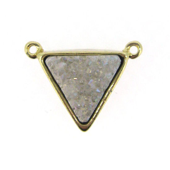 Wholesale Gold Plated White Agate Titanium Triangle Druzy Connector