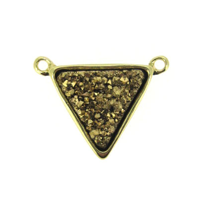 Wholesale Gold Plated Gold Agate Titanium Triangle Druzy Connector