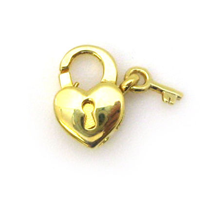 Wholesale Gold Over Sterling Silver Heart Lock Lobster Clasp (1 pc)