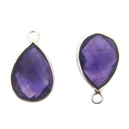 Wholesale Sterling Silver Bezel Gemstone Pendant - 10x14mm Faceted Small Teardrop - Natural Amethyst Quartz - February Birthstone