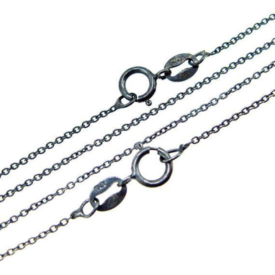 Wholesale Oxidized Sterling Silver Finished Chain - Tiny Plain Cable Oval Chain