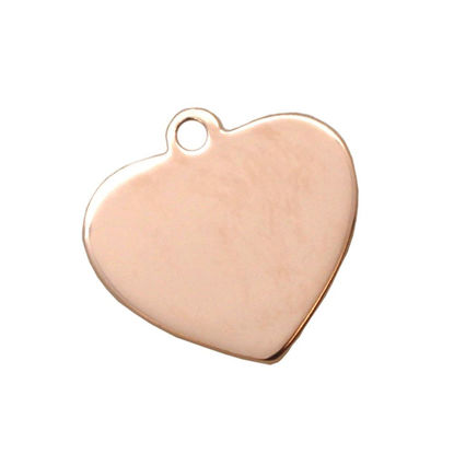 Wholesale Rose Gold Over Sterling Silver Heart Charm Stamping Blank - 19x20mm