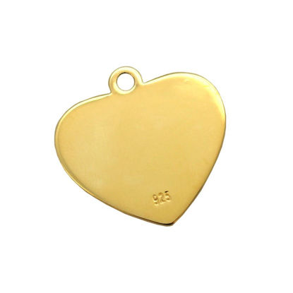 Wholesale Gold Over Sterling Silver Heart Charm Stamping Blank - 19x20mm