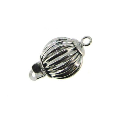 14K White Gold Straight Corrugated Ball Bead Clasp, Wholesale Findings
