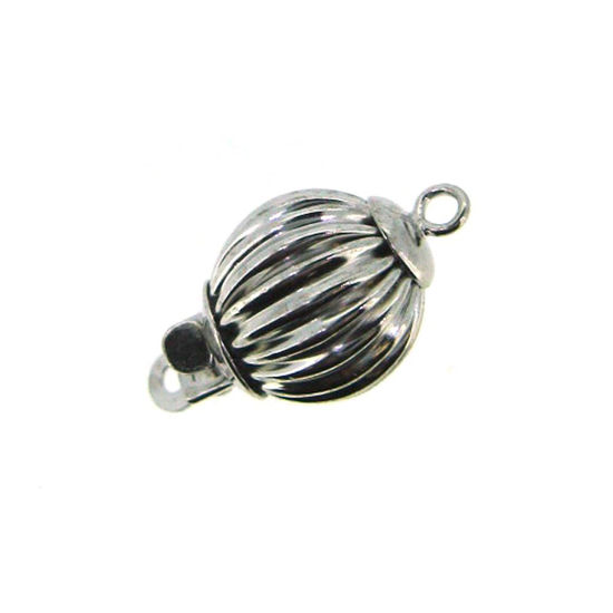 Wholesale 14K White Gold Straight Corrugated Ball Bead Clasp - 8mm (1 clasp)