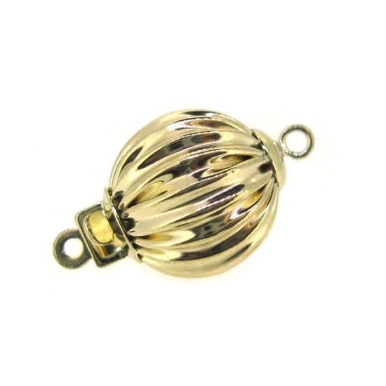 14K White Gold Round Corrugated Ball Clasp, Wholesale Findings