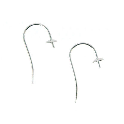 Wholesale 14K White Gold Fish Hook Ear Wire with Pearl Cap and Peg (1 pair)