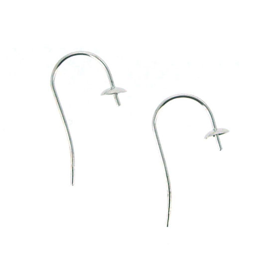 Wholesale 14K White Gold Fish Hook Ear Wire with Pearl Cap and Peg