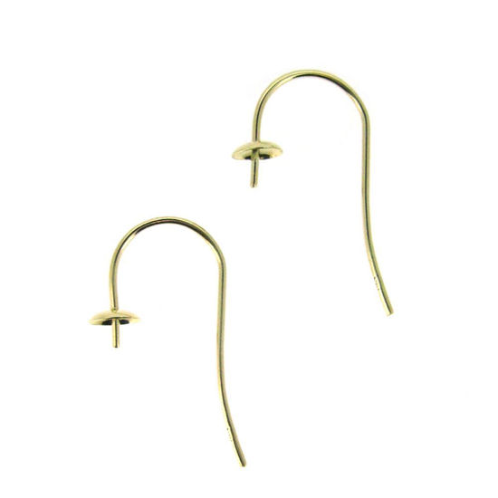 Wholesale 14K Yellow Gold Fish Hook Ear Wire with Pearl Cap and Peg