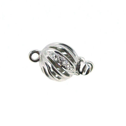 Wholesale 14K White Gold Round Filligree Ball Clasp with Diamond (7mm)