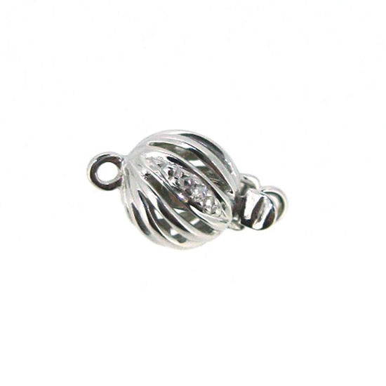 Wholesale 14K White Gold Round Filigree Ball Clasp with Diamond - 7mm (1 clasp)