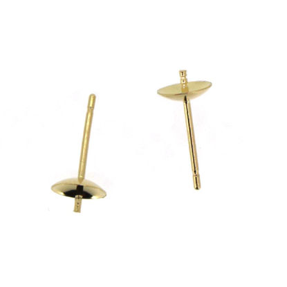 Wholesale 14K Yellow Gold Earrings Posts with Cups (5mm)(2 pieces)