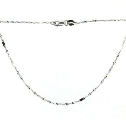 Wholesale 14K White Gold Necklace-Singapore Chain with Bar-18 inches