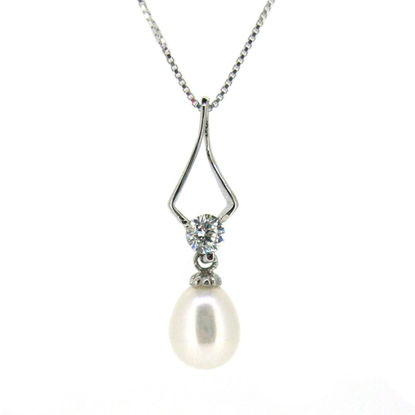 """Wholesale Sterling Silver White Freshwater Pearl and CZ Stone Diamond Shaped Pendant Necklace-16"""""""