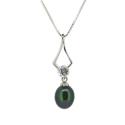 """Wholesale Sterling Silver Peacock Freshwater Pearl and CZ Stone Diamond Shaped Pendant Necklace-16"""""""