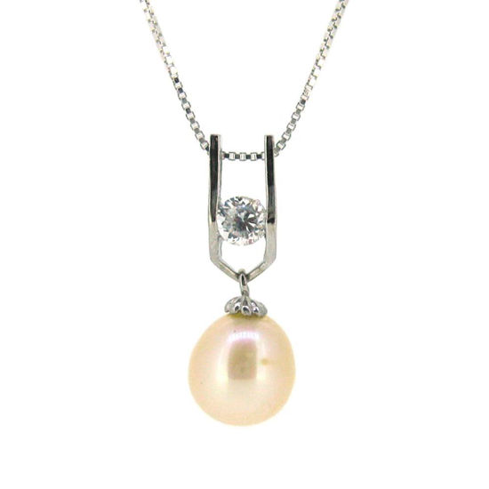 Wholesale Sterling Silver Cream Freshwater Pearl and CZ Stone Pendant Necklace-18""