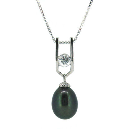 """Wholesale Sterling Silver Peacock Freshwater Pearl and CZ Stone Pendant Necklace-18"""""""