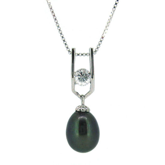 Wholesale Sterling Silver Peacock Freshwater Pearl and CZ Stone Pendant Necklace-18""
