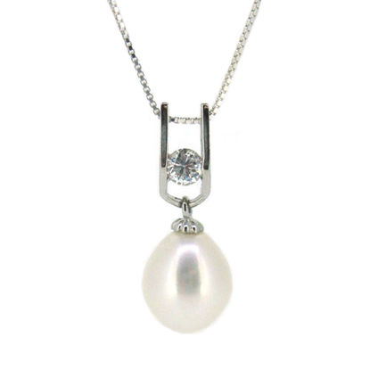 """Wholesale Sterling Silver White Freshwater Pearl and CZ Stone Pendant Necklace-18"""""""