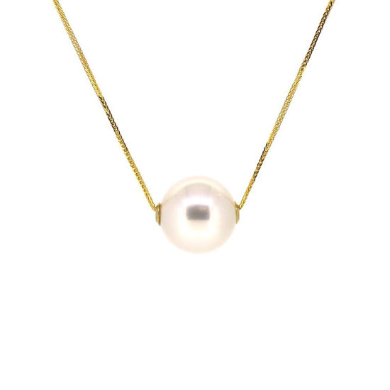 Wholesale 18K Yellow Gold White Floating Edison Pearl Adjustable Necklace