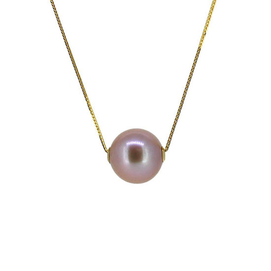Wholesale 18K Yellow Gold Purple Floating Edison Pearl Adjustable Necklace