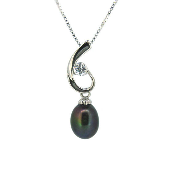 Wholesale Sterling Silver Peacock Freshwater Pearl and CZ Stone Swirl Pendant Necklace-16""