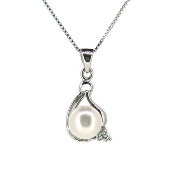 Wholesale Sterling Silver White Freshwater Pearl and CZ Stone Teardrop Pendant Necklace-16""
