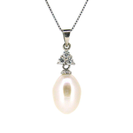 Wholesale Sterling Silver White Freshwater Pearl and Triangle CZ Stone Pendant Necklace-16""
