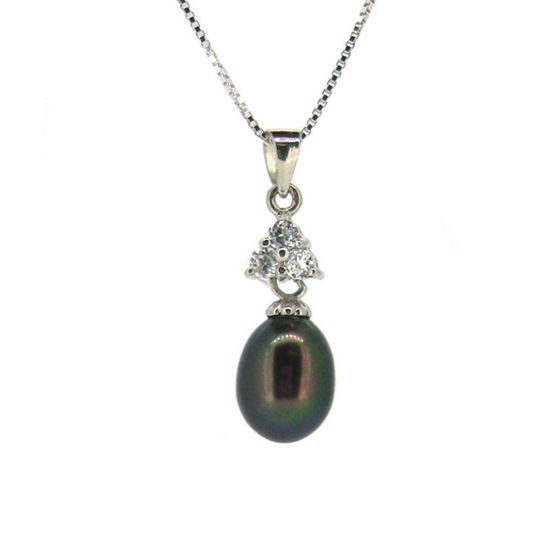 """Wholesale Sterling Silver Peacock Freshwater Pearl and Triangle CZ Stone Pendant Necklace-16"""""""